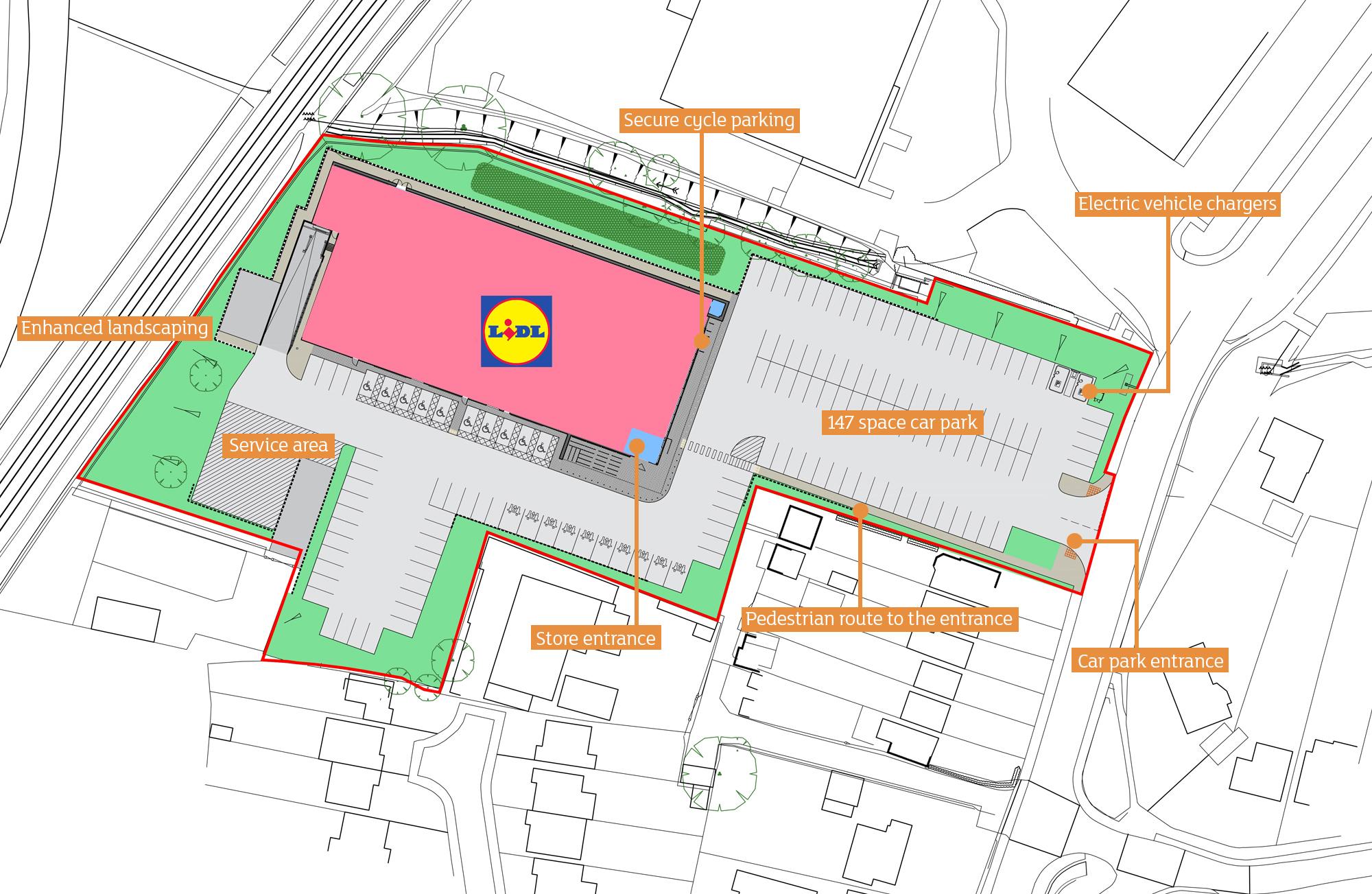 Lidl Store Bishop's Stortford Site Plan